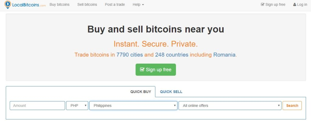 LocalBitcoins User Interface